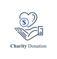 Hand and heart charity fund concept vector