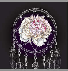 Hand drawn ornate dreamcatcher gently pink peony vector