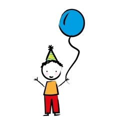 Happy boy with balloon drawn isolated icon design vector image