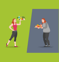 Healthy and unhealthy food choice fast food vector