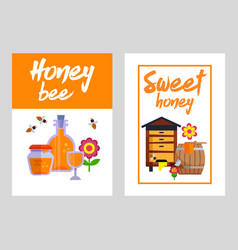 Honey banners set with honeycombs and jars full of vector