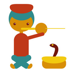 indian snake charmer playing flute indian symbol vector image
