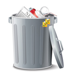 Iron Bin With Garbage vector