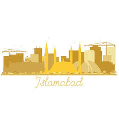 Islamabad pakistan city skyline golden silhouette vector