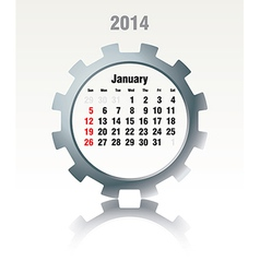 January 2014 - calendar vector image