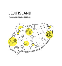Jeju island map with transparent outline designwi vector