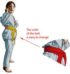 karate girl vector image