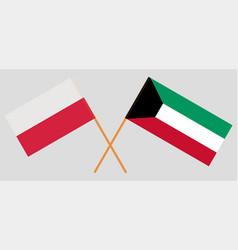 Kuwait and poland kuwaiti and polish flags vector
