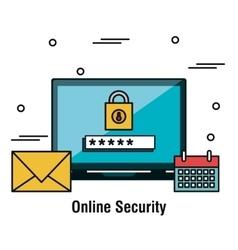 laptop security online password graphic vector image