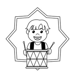 Line carnival boy play drum inside star vector
