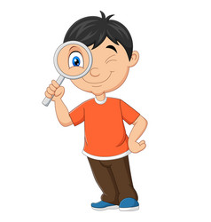 little boy using magnifying glass vector image