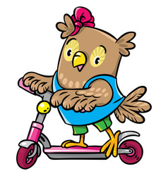 little funny owl rides a scooter vector image