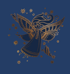 Luxury night blue and gold decorative girl angel vector