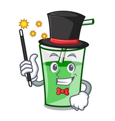 Magician green smoothie mascot cartoon vector