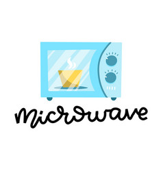 microwave oven with plate inside blue microwave vector image