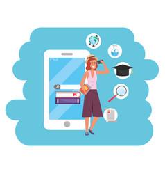 Online education millennial student using vector