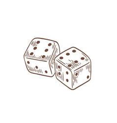 pair dice lying with sixes on top side drawn vector image