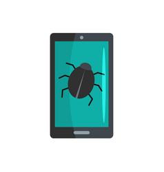 phone virus icon flat style vector image