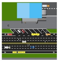 Plot road highway street with the store With vector image