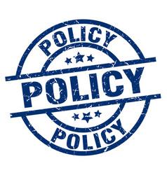 Policy blue round grunge stamp vector