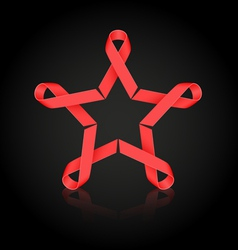 Red ribbon star vector image vector image