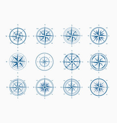 sea wind rose set blue ink cartography vector image