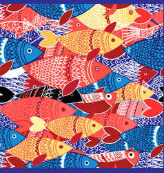 Seamless pattern of colorful fish vector