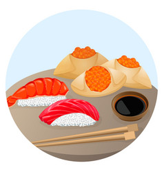 Served chinese food dim sum with shrimp and salmon vector