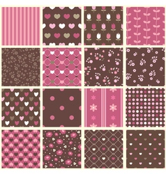 set abstract vintage seamless patterns vector image