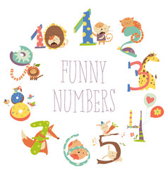 Set of birthday anniversary numbers with funny vector