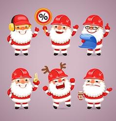 Set of Cartoon Santa Claus Builders vector image