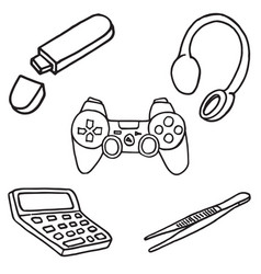 Set of office and entertainment equipment doodle vector