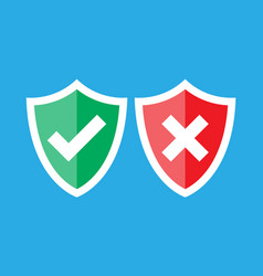 Shields and check marks approved and rejected vector