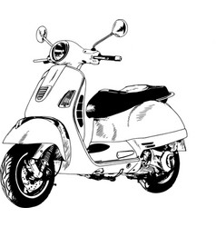Small city moped painted with ink by hand vector