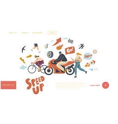 speed landing page template characters riding vector image