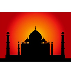 Sunset Taj Mahal vector