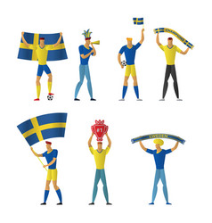 sweden football fans cheerful soccer vector image