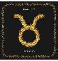 Taurus zodiac sign gold glitter for horoscope vector