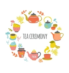 Tea Ceremony Hand Drawn Round Design vector