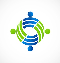 teamwork circle people group logo vector image