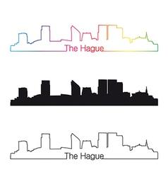 The Hague skyline linear style with rainbow vector image