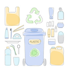 thin line icon set plastic waste sorting vector image