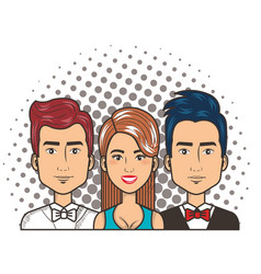 three woman and men portrait pop art comic style vector image