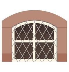 transparent double plastic window with metal mesh vector image