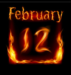 Twelfth february in calendar of fire icon on vector