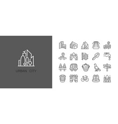 urban and city element icon set in trendy simple vector image