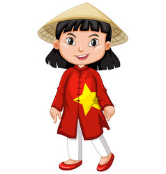 Vietnamese girl in tradition costume vector