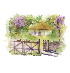 Watercolor rural village in green summer day vector image