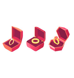wedding rings in luxury cases isometric vector image