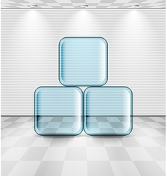 White room with glass plates vector image